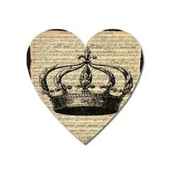 Vintage Music Sheet Crown Song Heart Magnet by AnjaniArt