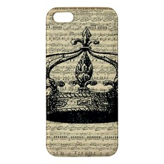 Vintage Music Sheet Crown Song Apple Iphone 5 Premium Hardshell Case by AnjaniArt