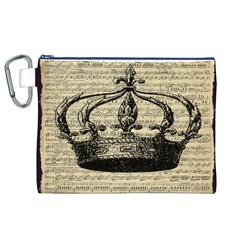 Vintage Music Sheet Crown Song Canvas Cosmetic Bag (xl) by AnjaniArt