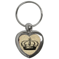 Vintage Music Sheet Crown Song Key Chains (heart)  by AnjaniArt