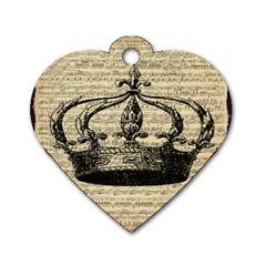 Vintage Music Sheet Crown Song Dog Tag Heart (one Side) by AnjaniArt