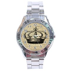 Vintage Music Sheet Crown Song Stainless Steel Analogue Watch by AnjaniArt