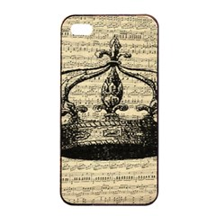 Vintage Music Sheet Crown Song Apple Iphone 4/4s Seamless Case (black) by AnjaniArt