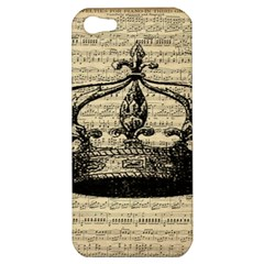 Vintage Music Sheet Crown Song Apple Iphone 5 Hardshell Case by AnjaniArt