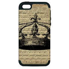 Vintage Music Sheet Crown Song Apple Iphone 5 Hardshell Case (pc+silicone) by AnjaniArt