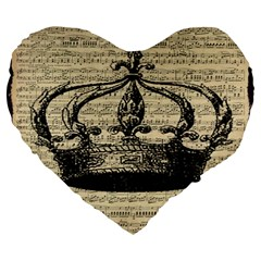 Vintage Music Sheet Crown Song Large 19  Premium Heart Shape Cushions by AnjaniArt
