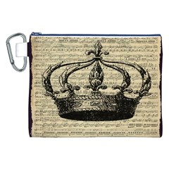 Vintage Music Sheet Crown Song Canvas Cosmetic Bag (xxl) by AnjaniArt