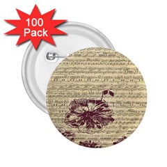 Vintage Music Sheet Song Musical 2 25  Buttons (100 Pack)  by AnjaniArt