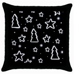 Black And White Xmas Throw Pillow Case (black) by Valentinaart