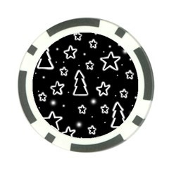 Black And White Xmas Poker Chip Card Guards by Valentinaart