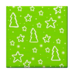 Green Christmas Face Towel by Valentinaart
