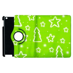 Green Christmas Apple Ipad 2 Flip 360 Case by Valentinaart