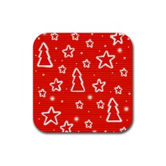 Red Xmas Rubber Square Coaster (4 Pack)  by Valentinaart