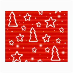 Red Xmas Small Glasses Cloth by Valentinaart