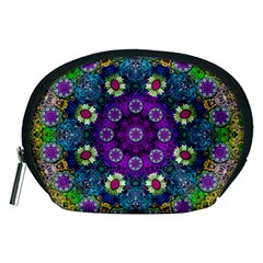 Colors And Flowers In A Mandala Accessory Pouches (medium)  by pepitasart