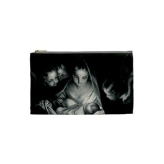 Nativity Scene Birth Of Jesus With Virgin Mary And Angels Black And White Litograph Cosmetic Bag (small)  by yoursparklingshop