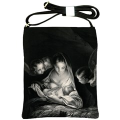 Nativity Scene Birth Of Jesus With Virgin Mary And Angels Black And White Litograph Shoulder Sling Bags by yoursparklingshop