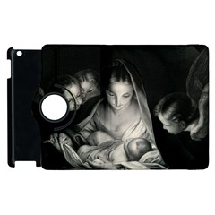 Nativity Scene Birth Of Jesus With Virgin Mary And Angels Black And White Litograph Apple Ipad 3/4 Flip 360 Case by yoursparklingshop