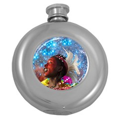 African Star Dreamer Round Hip Flask (5 Oz) by icarusismartdesigns