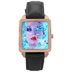 Swimming Into The Blue Rose Gold Leather Watch  by icarusismartdesigns