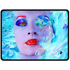 Swimming Into The Blue Double Sided Fleece Blanket (large)  by icarusismartdesigns