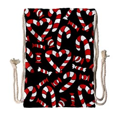 Christmas Candy Canes  Drawstring Bag (large) by BubbSnugg
