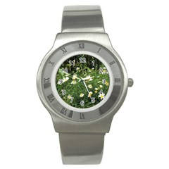White Daisy flowers Stainless Steel Watch by picsaspassion