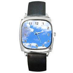 Clouds And Blue Sky Square Metal Watch by picsaspassion