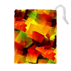 Indian Summer Cubes Drawstring Pouches (extra Large) by designworld65