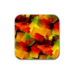 Indian Summer Cubes Rubber Coaster (square)  by designworld65