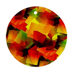 Indian Summer Cubes Round Ornament (two Sides)  by designworld65