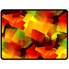 Indian Summer Cubes Double Sided Fleece Blanket (large)  by designworld65
