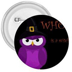 Who Is A Witch?   Purple 3  Buttons by Valentinaart