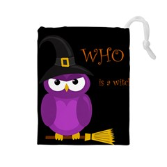 Who is a witch? - purple Drawstring Pouches (Large)