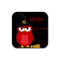 Who Is A Witch?   Red Rubber Square Coaster (4 Pack)  by Valentinaart