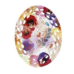 Watercolor Spring Flowers Background Oval Filigree Ornament (2 Side)  by TastefulDesigns