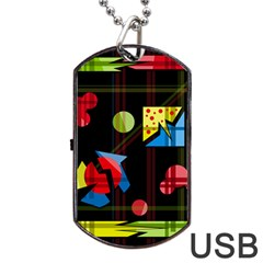 Playful Day Dog Tag Usb Flash (one Side) by Valentinaart