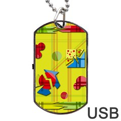 Playful day - yellow  Dog Tag USB Flash (One Side) by Valentinaart