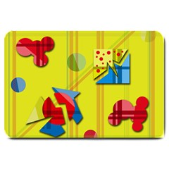 Playful day - yellow  Large Doormat