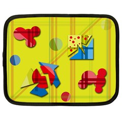 Playful Day   Yellow  Netbook Case (xl)  by Valentinaart