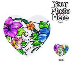 Tropical Hibiscus Flowers Multi Purpose Cards (heart)  by EverIris