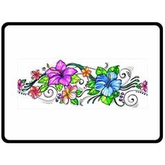 Tropical Hibiscus Flowers Fleece Blanket (large)  by EverIris