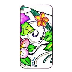 Tropical Hibiscus Flowers Apple Iphone 4/4s Seamless Case (black) by EverIris