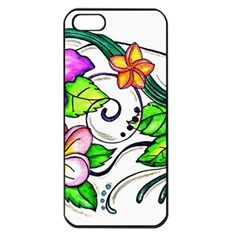 Tropical Hibiscus Flowers Apple Iphone 5 Seamless Case (black) by EverIris