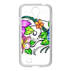 Tropical Hibiscus Flowers Samsung Galaxy S4 I9500/ I9505 Case (white) by EverIris
