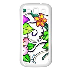 Tropical Hibiscus Flowers Samsung Galaxy S3 Back Case (white) by EverIris