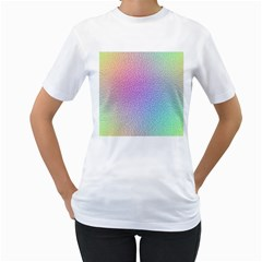 Rainbow Colorful Grid Women s T Shirt (white) (two Sided) by designworld65