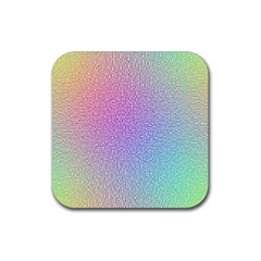 Rainbow Colorful Grid Rubber Square Coaster (4 Pack)  by designworld65