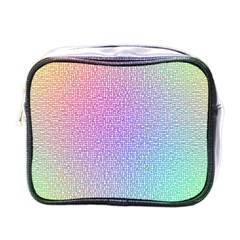Rainbow Colorful Grid Mini Toiletries Bags by designworld65