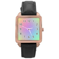 Rainbow Colorful Grid Rose Gold Leather Watch  by designworld65